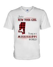 NEW YORK GIRL LIVING IN MISSISSIPPI WORLD V-Neck T-Shirt thumbnail