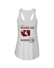 WYOMING GIRL LIVING IN WASHINGTON WORLD Ladies Flowy Tank thumbnail