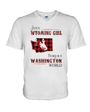 WYOMING GIRL LIVING IN WASHINGTON WORLD V-Neck T-Shirt thumbnail
