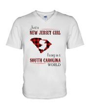 JERSEY GIRL LIVING IN SOUTH CAROLINA WORLD V-Neck T-Shirt thumbnail