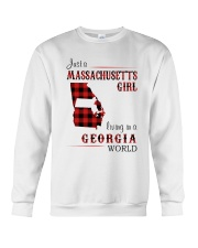 MASSACHUSETTS GIRL LIVING IN GEORGIA WORLD Crewneck Sweatshirt thumbnail