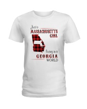 MASSACHUSETTS GIRL LIVING IN GEORGIA WORLD Ladies T-Shirt thumbnail
