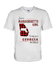 MASSACHUSETTS GIRL LIVING IN GEORGIA WORLD V-Neck T-Shirt thumbnail