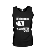 JUST A CHICAGO GUY LIVING IN WASHINGTON WORLD Unisex Tank thumbnail