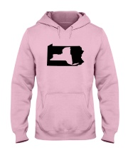 LIVING IN PENNSYLVANIA AND YOU'RE FROM NEW YORK Hooded Sweatshirt front