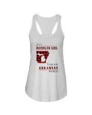 MICHIGAN GIRL LIVING IN ARKANSAS WORLD Ladies Flowy Tank thumbnail