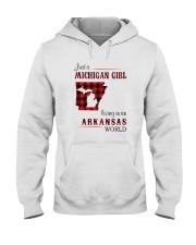 MICHIGAN GIRL LIVING IN ARKANSAS WORLD Hooded Sweatshirt thumbnail