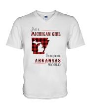 MICHIGAN GIRL LIVING IN ARKANSAS WORLD V-Neck T-Shirt thumbnail