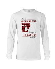 MICHIGAN GIRL LIVING IN ARKANSAS WORLD Long Sleeve Tee thumbnail