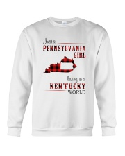 PENNSYLVANIA GIRL LIVING IN KENTUCKY WORLD Crewneck Sweatshirt thumbnail