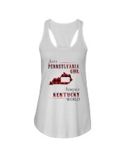 PENNSYLVANIA GIRL LIVING IN KENTUCKY WORLD Ladies Flowy Tank thumbnail