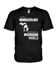 JUST A MINNESOTA GUY LIVING IN MICHIGAN WORLD V-Neck T-Shirt thumbnail
