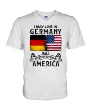 LIVE IN GERMANY BEGAN IN AMERICA V-Neck T-Shirt thumbnail