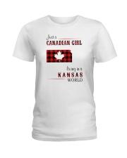 CANADIAN GIRL LIVING IN KANSAS WORLD Ladies T-Shirt thumbnail