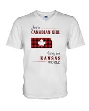CANADIAN GIRL LIVING IN KANSAS WORLD V-Neck T-Shirt thumbnail