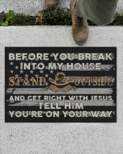 "Before you break into my house Stand Outside and Doormat 34"" x 23"" aos-doormat-34-x-23-lifestyle-front-01"