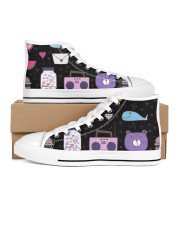 All over lovely cat fish radio design Men's High Top White Shoes thumbnail