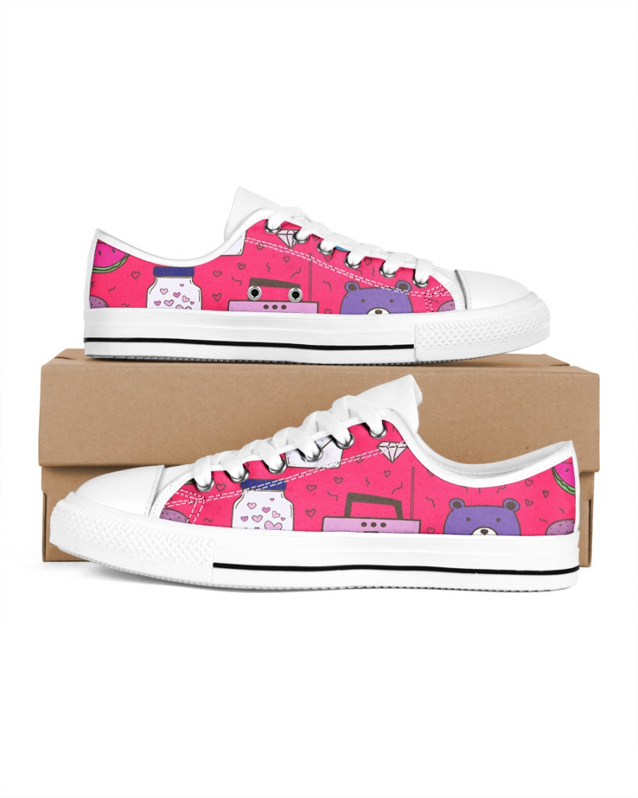 All over lovely cat fish radio design Men's Low Top White Shoes