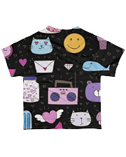 All over lovely cat fish radio design All-over T-Shirt back