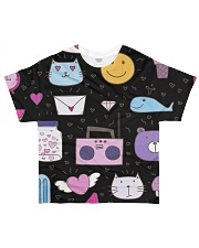 All over lovely cat fish radio design All-over T-Shirt front