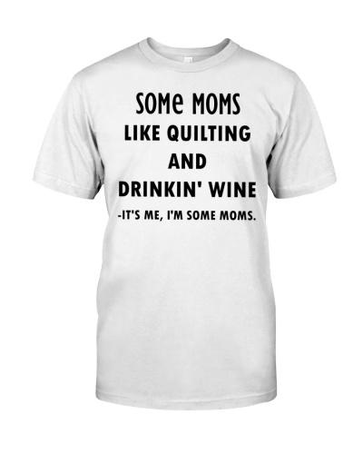 Mom quilting wine