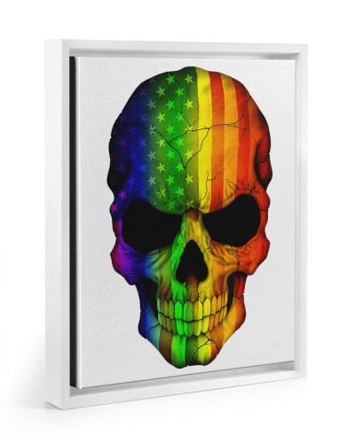 Skull Flag Rainbrow LGBT Canvas Prints
