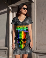 Gay Pride Rainbow Flag Skull Gift T-Shirt  All-over Dress aos-dress-front-lifestyle-1
