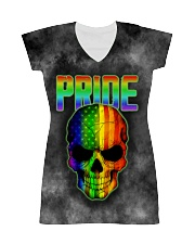 Gay Pride Rainbow Flag Skull Gift T-Shirt  All-over Dress front