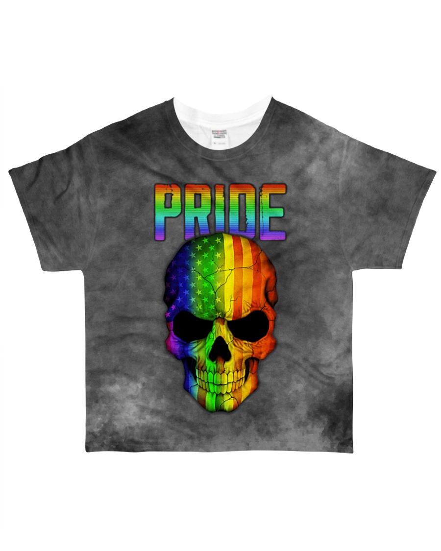 Gay Pride Rainbow Flag Skull Gift T-Shirt  All-over T-Shirt