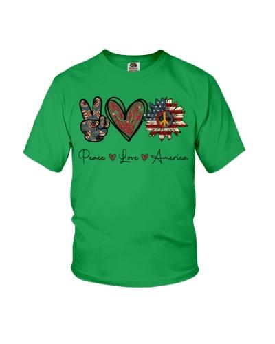 Peace Love America Awesome Heart Sunflower T-shirt
