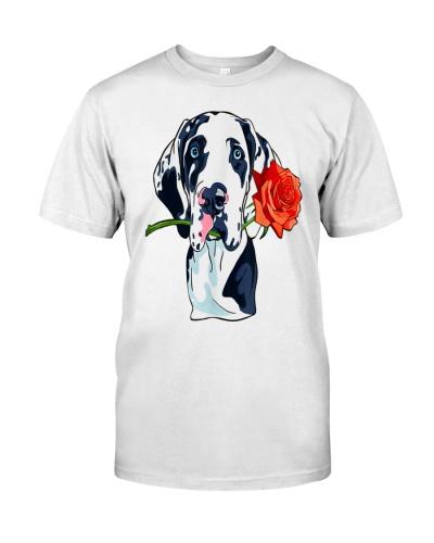 Great Dane Dog Rose FunnyFor Men Women Kid