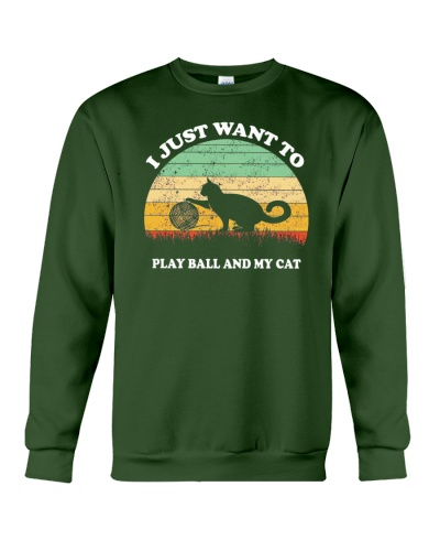 I Just Want to Play Ball And My Cat Retro Vintage