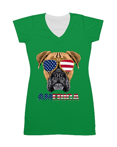 BOXER Dog Owner 4th of July Independence dayTee