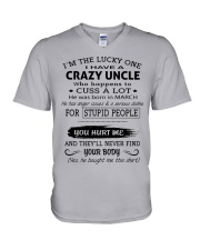 I HAVE A CRAZY UNCLE-MARCH V-Neck T-Shirt thumbnail