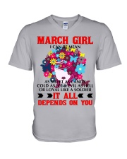 I CAN BE MEAN MARCH V-Neck T-Shirt thumbnail