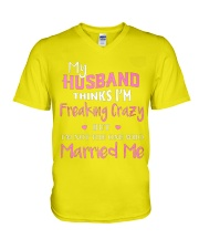MY HUSBAND FREAKING CRAZY V-Neck T-Shirt thumbnail