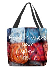 Home is where your yarn stash is All-over Tote back