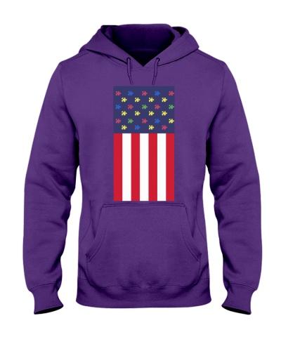 Autism American USA flag T-Shirt autism awareness