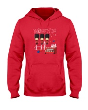 London England Vacation Red White Blue Union Jack  Hooded Sweatshirt tile
