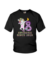 Unicorn Dabbing Awesome Since 2010 - 8th Birthday  Youth T-Shirt front
