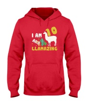 Llama 10th Birthday Llamazing Shirt for Girls Hooded Sweatshirt thumbnail