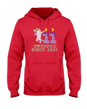 Unicorn Dabbing Awesome Since 2007 - 11th Birthday Hooded Sweatshirt thumbnail