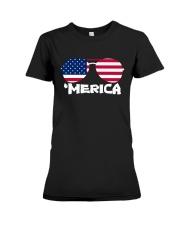 'Merica Patriotic Independence Day USA Summer Premium Fit Ladies Tee front