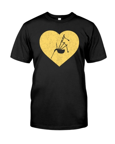 I Love Bagpipe HearT-Shirt Funny Marching Band