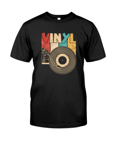 Retro Distressed Vinyl Record Turntable T-Shirt