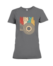 Retro Distressed Vinyl Record Turntable T-Shirt Premium Fit Ladies Tee thumbnail