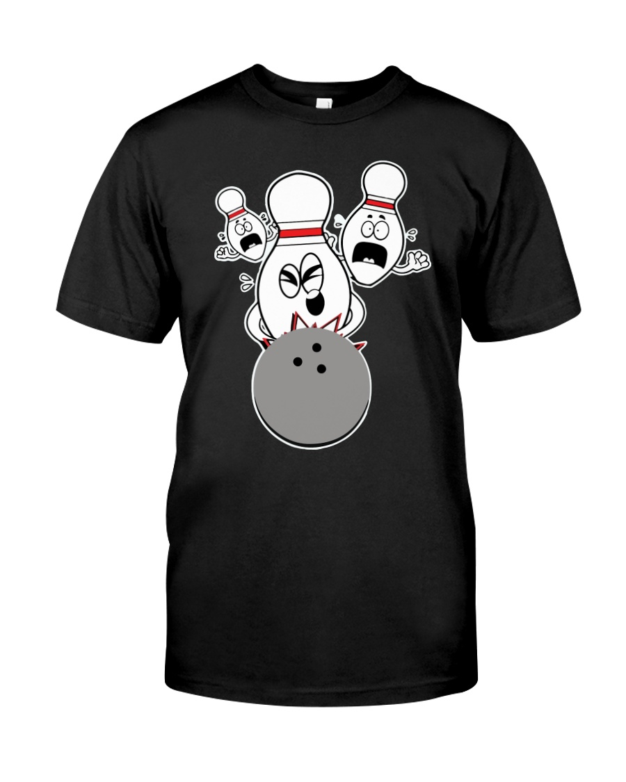 Bowling Pins Knocked Down Strike Scared Nut Classic T-Shirt