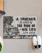 """Personalized A Trucker And The Ride Of His Life Doormat 22.5"""" x 15""""  aos-doormat-22-5x15-lifestyle-front-07"""