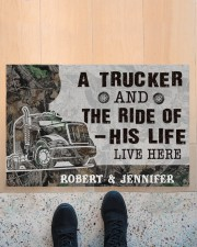 """Personalized A Trucker And The Ride Of His Life Doormat 22.5"""" x 15""""  aos-doormat-22-5x15-lifestyle-front-10"""