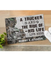 """Personalized A Trucker And The Ride Of His Life Doormat 22.5"""" x 15""""  aos-doormat-22-5x15-lifestyle-front-11"""